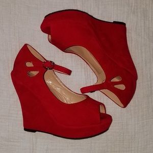 Sexy red wedges never worn